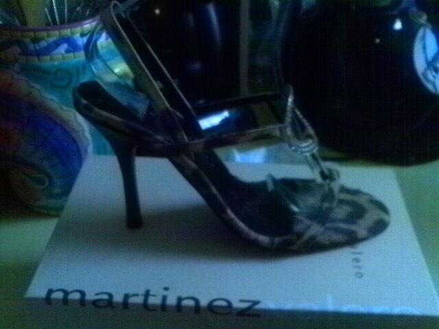 MARTINEZ VALERO LEOPARD SUEDE BLING T STRAP SANDALS BLACK HEEL 7  M