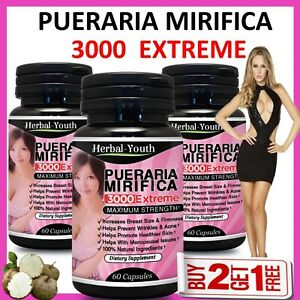 PUERARIA-MIRIFICA-3000-EXTREME-PURE-amp-NATURAL-BUST-BREAST-ENLARGEMENT-CAPSULES