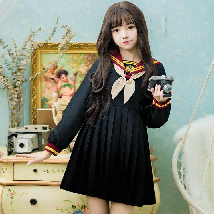 Preppy style Japanese Lolita Cute OP Long Short Sleeve Dress Jk uniform Women