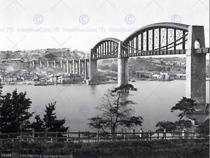 PLYMOUTH-SALTASH-BRIDGE-ENGLAND-VINTAGE-OLD-BW-PHOTO-PRINT-POSTER-ART-1569BW