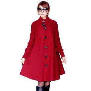 huge discount a6c9d 241e7 Dettagli su Giacca donna lunga rossa donna FRANCESE LUNGA Loose Woolen  Panno Trench Mantello- mostra il titolo originale