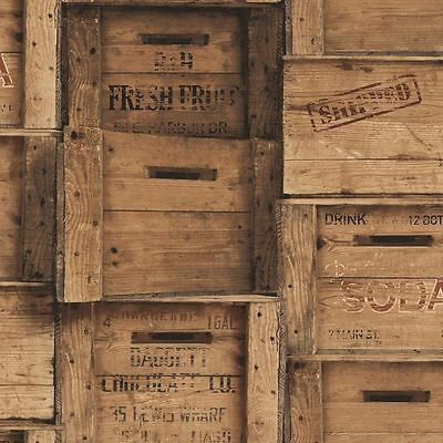 Fine Decor - Brown Wood Crates - Fruit / Wine Wooden Boxes -  Wallpaper FD40943