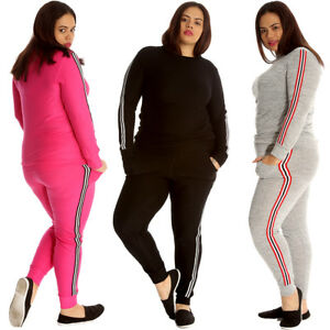 soft and light special section durable modeling Details about New Womens Tracksuit Plus Size Ladies Side Stripe 2 in 1  Sweatshirt Bottoms Cuff
