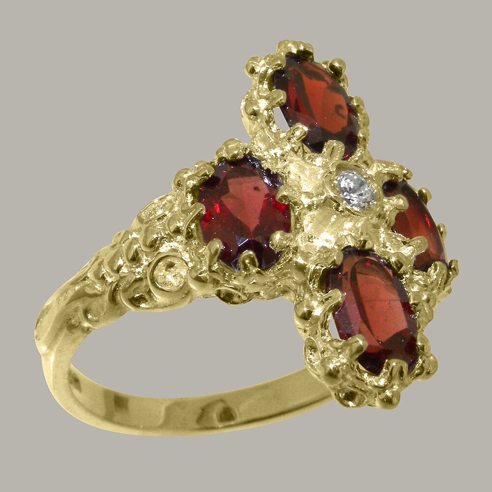 9ct Yellow gold Natural Diamond & Garnet Womens Cluster Ring - Sizes J to Z