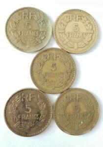 Set 5 Coins 5 Francs France 1940, 1946. (AV3016)