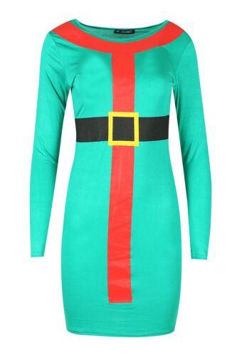 Women/'s Noël Candy Stick Ceinture Santa Elf Costume à manches longues moulante Mini robe