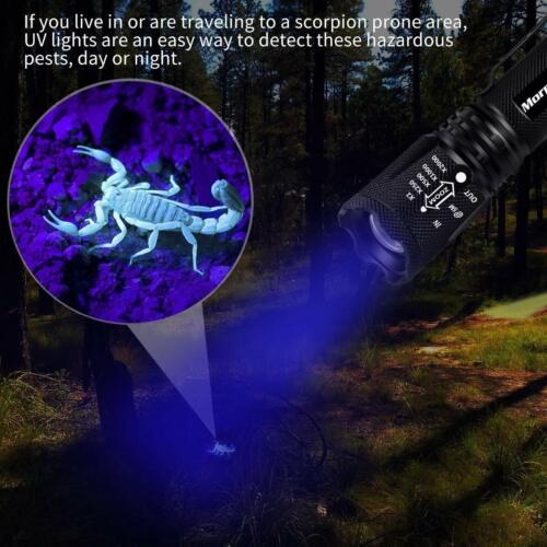 2 x Linterna Táctica LED luz UV ultravioleta 2en1,4 modos,aluminio,impermeable