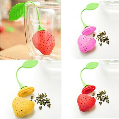 Strawberry Silicone Loose Tea Leaf Strainer Herbal Spice Infuser Filter Diffuser