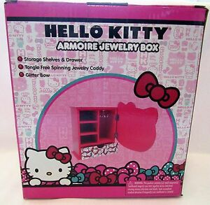 hello kitty jewelry box armoire with spinning caddy. Black Bedroom Furniture Sets. Home Design Ideas