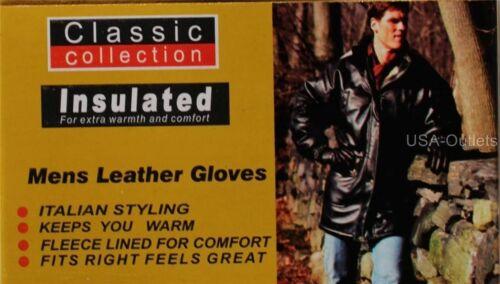 Homme doux cuir véritable conduite en hiver isoler Doublé Réglable Gants-UK1C