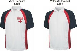 Lifeguard Shirt Polo Zipper Dry Fit Wicking W Or Without Logo Red