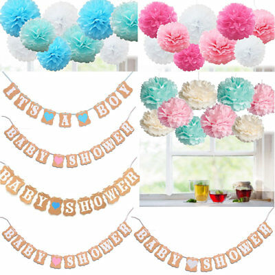 It/'s A Boy Blue Heart Baby Shower Bunting Party Banner Garland Photo Props