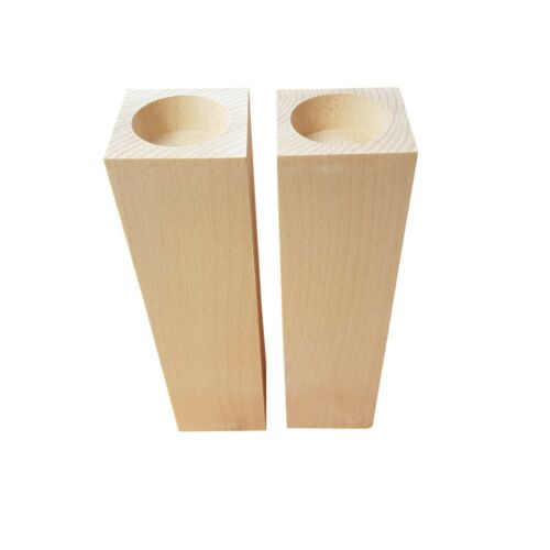 Tea Light Holders 20 cm Height Set of 2 - Decoupage Wooden Square Candle
