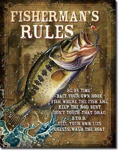 Fisherman-039-s-Rules-Bass-Fishing-Lake-Hunt-Cabin-Rustic-Wall-Decor-Metal-Tin-Sign