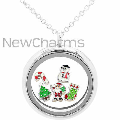 Holiday Floating Living Locket, Necklace & 5 Living Locket Charms Christmas Gift