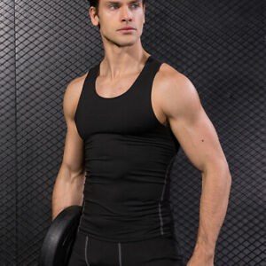 Mens-Compression-Workout-Vest-Gym-Tank-Top-Basketball-Running-Sportswear-T-shirt