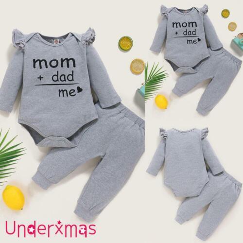 Newborn Baby Boy Girl 2Pcs Outfit Letter Print Romper Bodysuit Pants Set Clothes