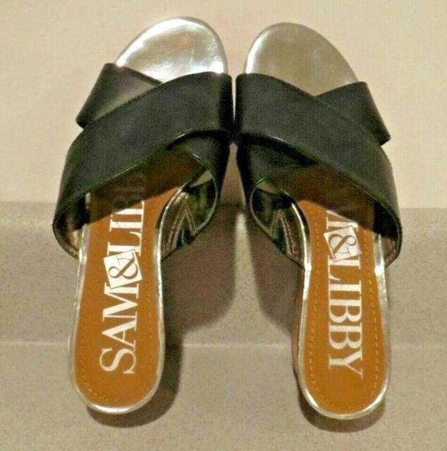 NWOB Black Strap Sam & Libby platform sandals size 8.5 w/cork type 2 1/2