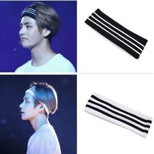 Kpop Star BTS V Headband Stripe Wide Hair Band Elastic Sports Yoga ... f2bec1df4f5