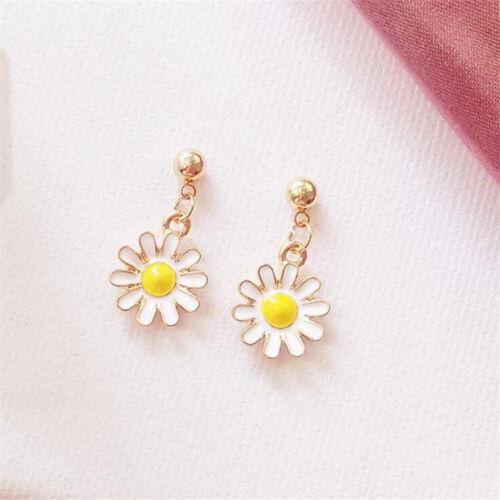 Sunflower Pearls Pendant Necklace Earring Women Imitation Sweater Jewelry New