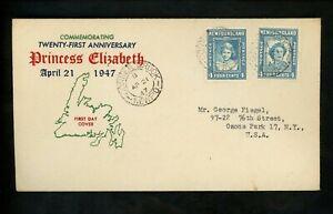 Postal-History-Newfoundland-269-FDC-Princess-Elizabeth-1947-Corner-Brook-NL