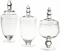 Glass Apothecary Jar Clear Canister Candy Vintage Glass Storage W/ Lids 3 Set