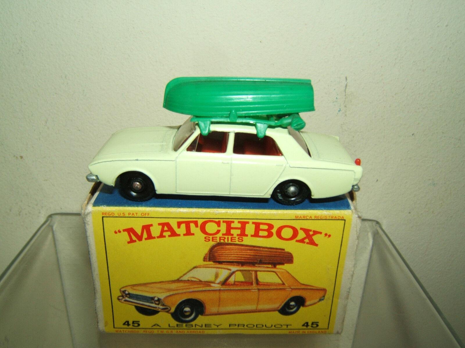 MATCHBOX LESNEY MODEL MODEL MODEL No.45b FORD CORSAIR avec bateau En parfait état, dans sa boîte 23742c