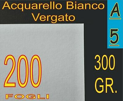 200 Fogli Carta Acquarello Bianco X Stampa Laser Inkjet A5 300gr Rigata Vergata