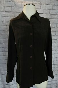 Express-Womens-Button-Shirt-brown-Sueded-Size-Small-Blouse-jacket-blazer-top