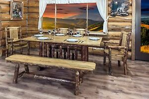 Details about Log Dining Table Bench Chairs Set Amish Made Finished Pine 6  ft Kitchen Tables