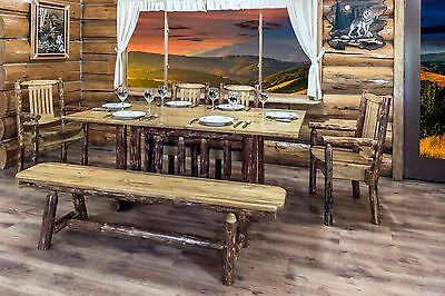 Log Dining Table Bench Chairs Set Amish Made Finished Pine 6 ft Kitchen  Tables | eBay