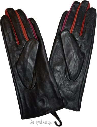 Leather gloves Woman/'s winter Leather Dress Gloves Black Warm Gloves BN