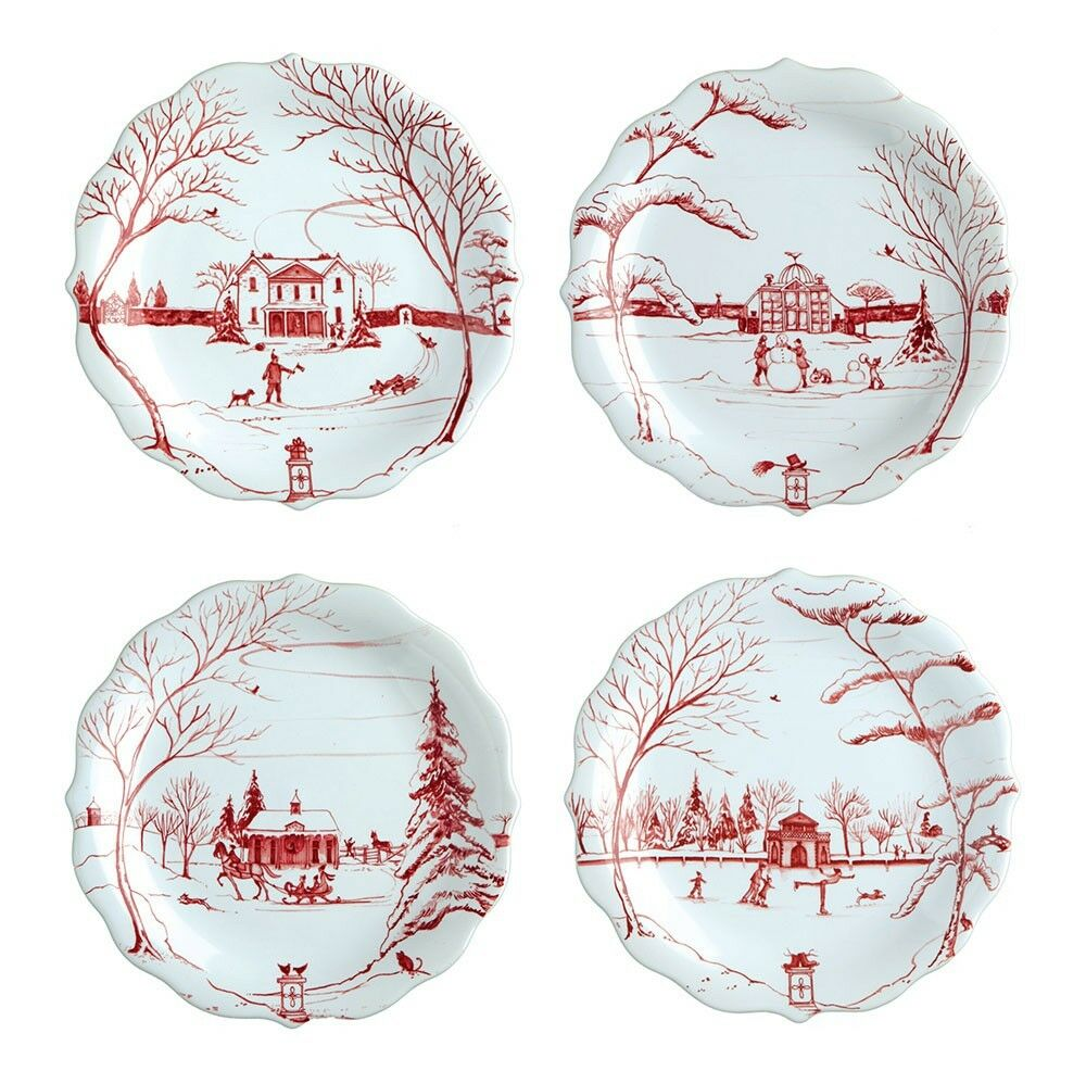 Juliska Country Estate Winter Frolic Ruby Party Plate, Set - 4