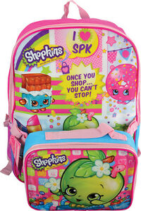 "Shopkins Girls 16/"" Canvas Backpack With Bonus Lunch Bag"
