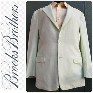 Brooks Brother S Green And White Striped Seersucker Jacket 2button