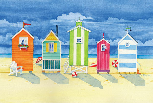 Paul Brent  Brighton Huts Keilrahmen-Bild Leinwand Strand-Hütte Ferien bunt