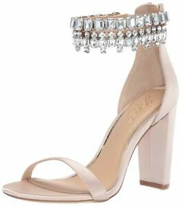 BADGLEY-MISCHKA-Womens-Dancer-Open-Toe-Special-Champagne-Satin-Size-9-5-Ylqf