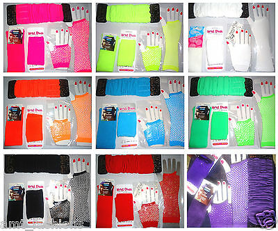 Neon Fingerless Fishnet Party Gloves Punk Dance Costume Pink Green 80/'s Warmers