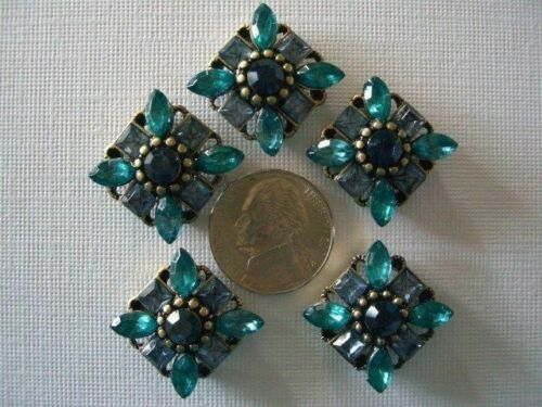 2 Hole Slider Beads Marquis Square Darker Blue Made With Swarovski Elements #5