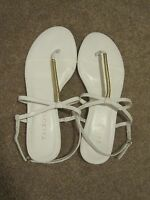 $99 Talbot's Chalk White & Gold Hayley Wrapped Thong Sandal Size 7m