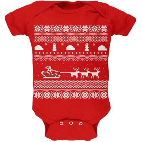 Ugly Xmas Sweater Santa Sleigh Red Infant Newborn One Piece