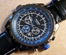 Wristwatch °° XXL - HERRENUHR mit Echt-Lederarmband  -  Chrono-Look  ani030913a