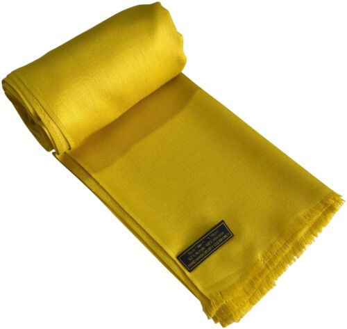 CJ Apparel Yellow Gold Fringe Solid Colour Design Shawl Pashmina Seconds **NEW**