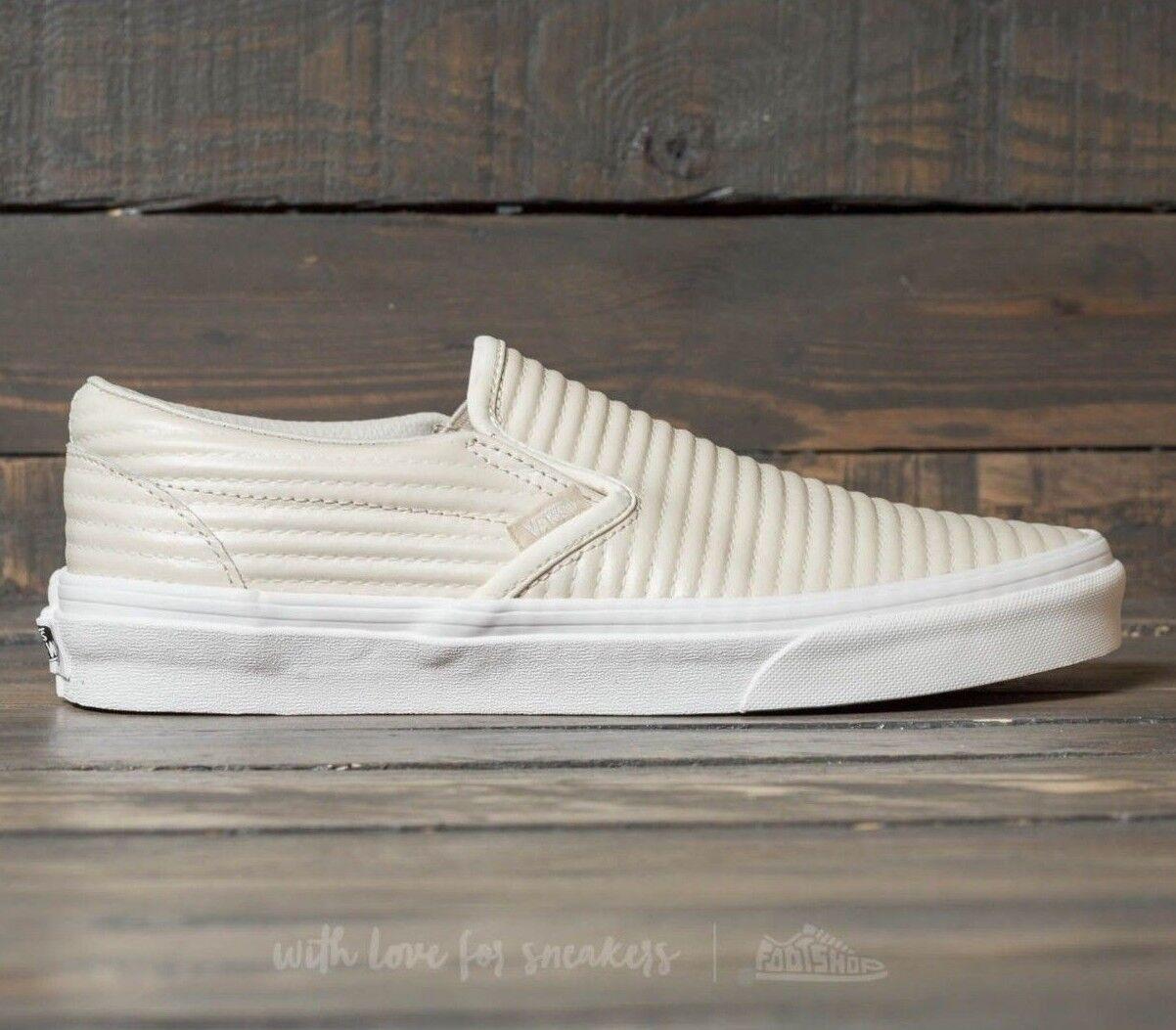 Vans Classic Slip On (Moto Leder) Birch/Blanc de Blanc Skate Skate Blanc Damenschuhe Größe 9 3cf9e5