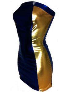 F Girth Mega Designer Bandeau Kleid Blau Gold Metalleffekt Ebay