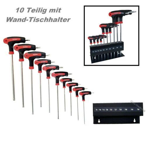 10 Teilig Torx Schraubendreher Satz Schraubenzieher mit Stirnloch T-Griff T9-T50