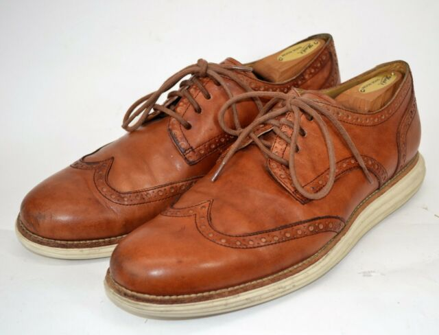 Cole Haan Lunargrand Mens 10M Brown Oxford Derby Wingtip Shoes