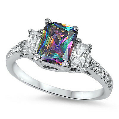 BEAUTIFUL RAINBOW TOPAZ & CZ  .925 Sterling Silver Ring Sizes 5-11
