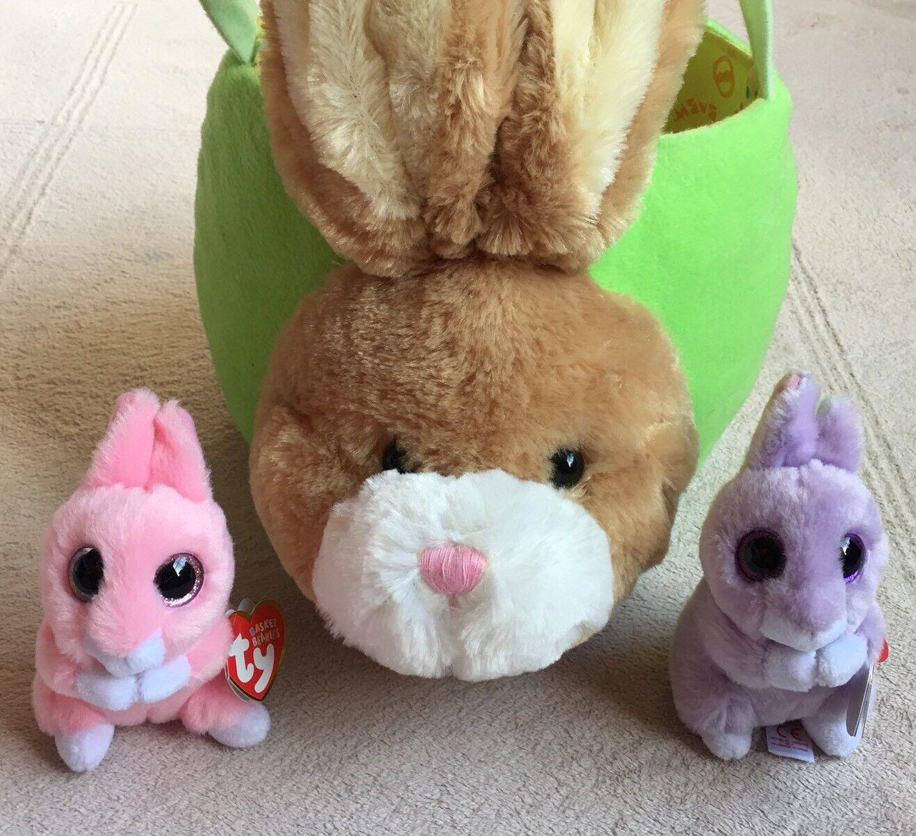 "Build-a-Bear Bunny Rabbit Easter Basket 7"" & Ty Basket Beanies April & Jasper 3"""
