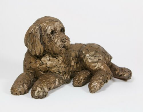 Boxed New AT035 Bronze Ozzy Frith Cockapoo Lying